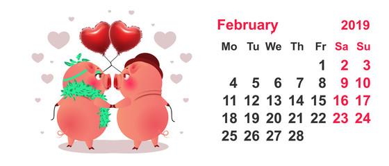 Pig couple symbol 2019 year. Calendar grid february