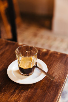 Cuban coffee or espresso in a small glass cup