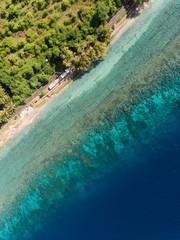 Tropical ocean coastline from above