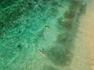two persons, couple swimming together in the clear green ocean view from above,
