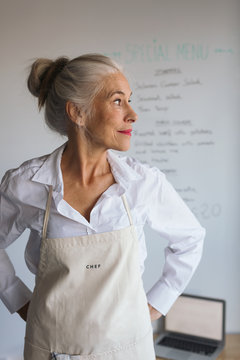 Senior female chef.
