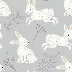 bezszwowe króliczek królik powtarzać wzór tła z słodkie kremowe króliki i szare liście na szarym tle - 232574428