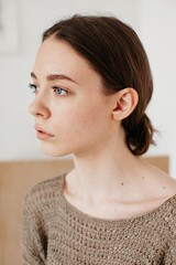 Side view closeup beauty portrait of amazing teenage girl