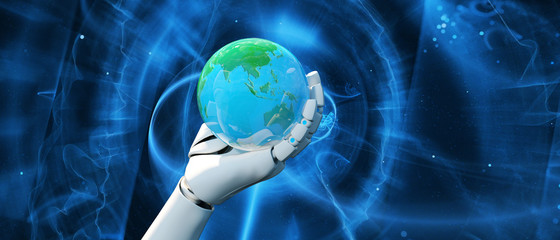 Artificial intelligence,3d illustration of robot holding globe