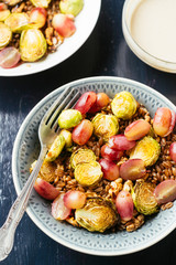 Farro with Roasted Brussels Sprouts and Red Grapes