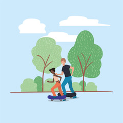 young couple in skateboard on the park