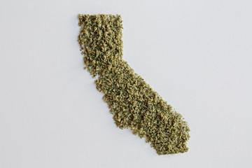 Silhouette of California made from marijuana