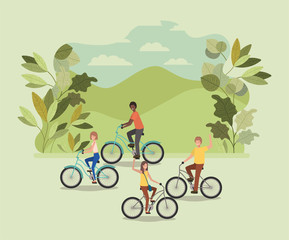 group of people on bicycle in the park