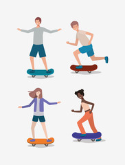 group of people in skateboards