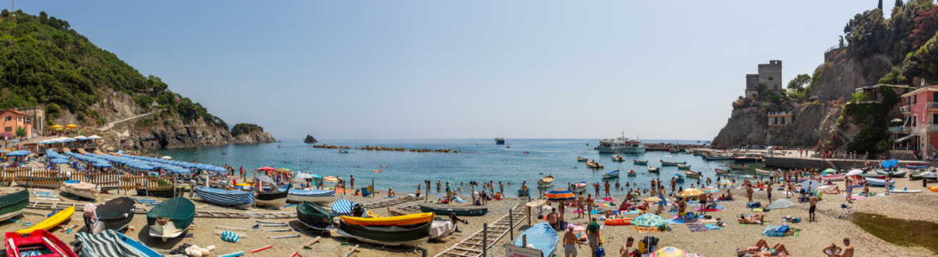 Panoramic view of the beach at Monterosso al Mare on he Ligurian coast, Italy