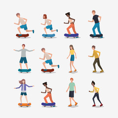 group of people in skates and skateboards