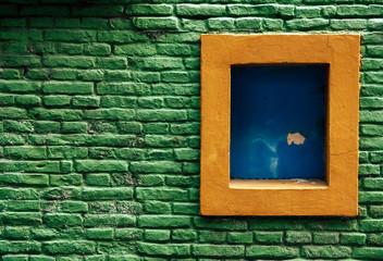 Window in Green Brick Wall