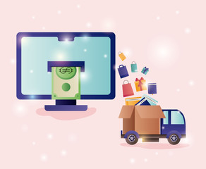 computer desktop with ecommerce icons
