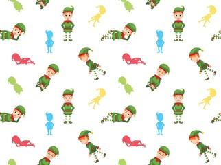 Christmas Elf Cartoon Seamless Wallpaper