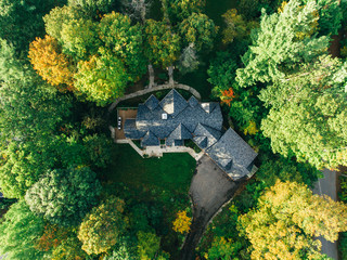 Aerial photo of a house in autumn