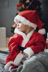 Cute child in Christmas costume