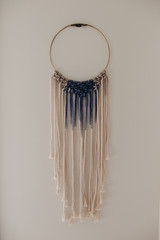 Beautiful Blue and Cream Macrame Hanging Decor
