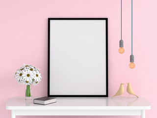 Blank photo frame for mockup on table, 3D rendering