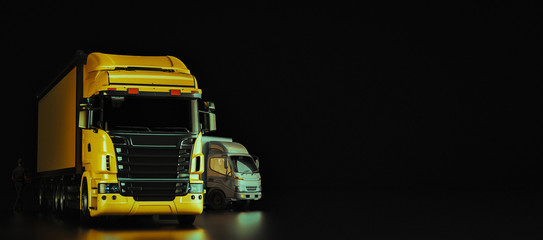 The truck is on a black background.