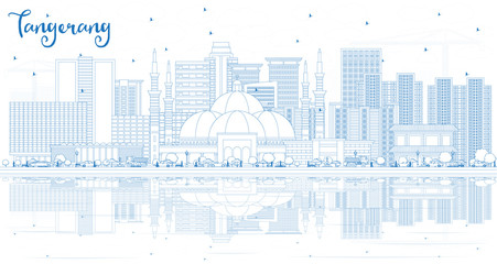 Outline Tangerang Indonesia City Skyline with Blue Buildings and Reflections.