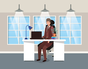 modern office with businessman sitting