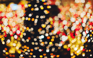 Many colorful blurred christmas lights