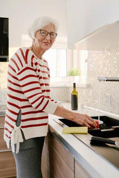 Cheerful senior woman washing dishes