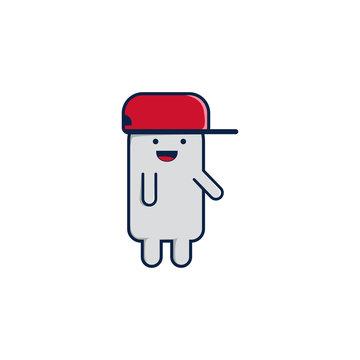 Funny talking cartoon character wears snapback hat
