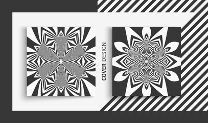 Cover design template. Black and white design. Abstract striped background. Vector illustration.