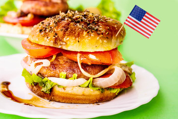 traditional american hamburger witch flag.fastfood