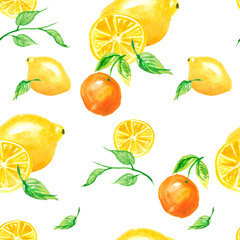 Watercolor painting, vintage seamless pattern - tropical fruits, citrus, slices of lemon, orange,mandarin. Hand drawn art illustration. Artistic abstract watercolor seamless pattern.