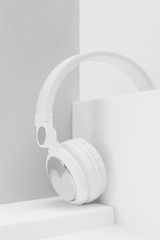 White headphone on white.