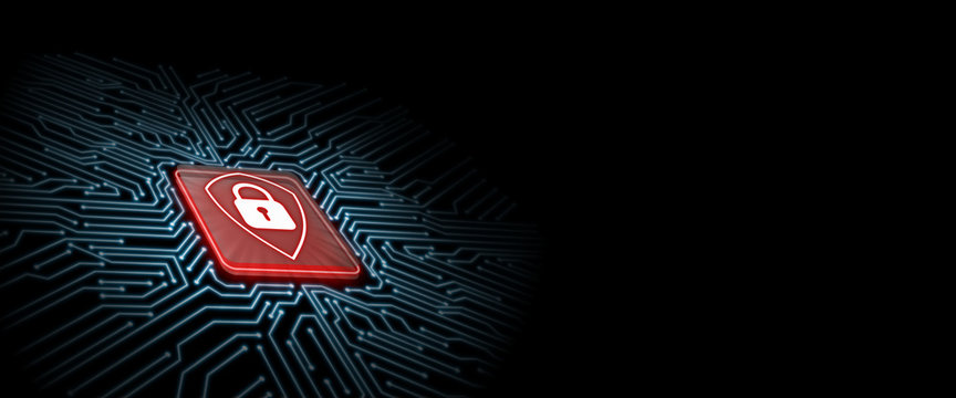 Red shield logo on microchip with glow circuit board background. Concept of  business security. Corporate, large scale organization control to protect customer data. Cryptocurrency token privacy