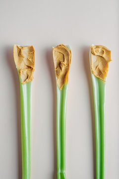 Peanut butter on celery sticks