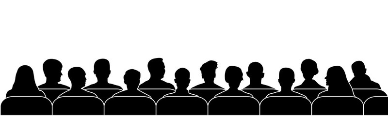 Audience cinema, theater. Public presentation anonymous faces. Crowd of people in the auditorium, silhouette vector isolated