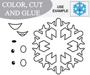 Create the image of snowflake and color. Paper game for children. Vector illustration.