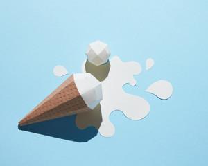Vanilla ice cream with paper