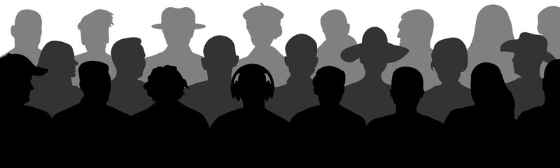 Crowd of people in the auditorium. Audience cinema, theater. Public presentation, anonymous faces. Viewers celebrity. Silhouette vector isolated