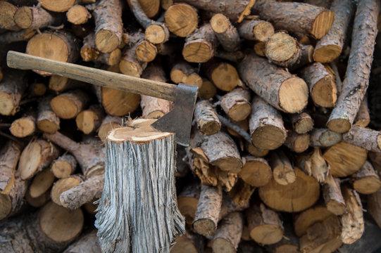 Ax nailed to a tree