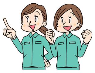 作業着を着た女性グループ