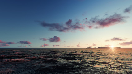 Ocean with island and sunset