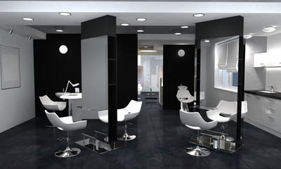 beauty saloon, interior visualization, 3D illustration
