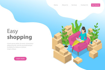 Flat isometric vector landing page template for easy shopping, e-commerce, online store, mobile payment, fast delivery.