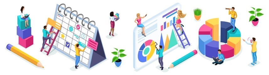 Isometric set of people and business icons on a white background. People in the process of work, teamwork, planning, business strategies, beginning entrepreneurs - fototapety na wymiar