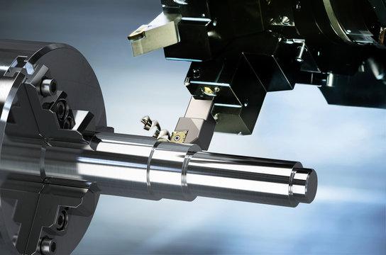 Industrielle Bearbeitung von Metall mit CNC Drehmaschine