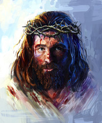 Jesus in the crown of thorns, painting