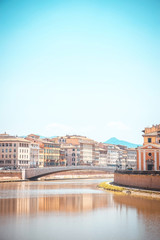 View over river Arno in Tuscany town Pisa