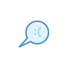sad smiley emoji. emoticon in bubble speech with cute blue outline style