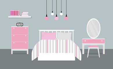 Interior design of girl bedroom with furniture, Vector illustration