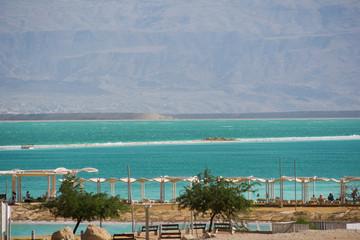 Israel View of Dead Sea beach. Incredible colors of sea.